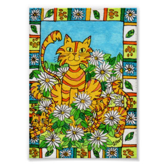 Mother Cat & Kittens in Daisy Patch Mini Folk Art Poster