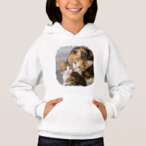 Mother Cat Loves Cute Kitten Animal Photo - girls Hoodie
