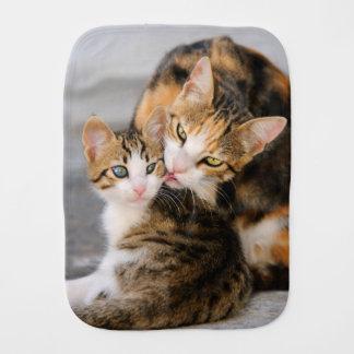 Mother Cat Loves Cute Kitten, Enchanting Burp Cloth
