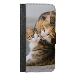 Mother cat loves cute kitten photo - protect iPhone 6/6s plus wallet case