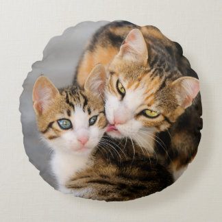 Mother Cat Loves Cute Kitten smooth Round Pillow