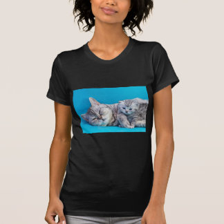 Mother cat lying with kitten on blue garments T-Shirt