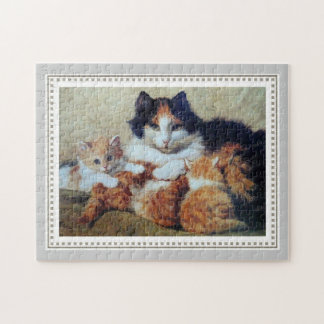 Mother Cat with Her Kittens - Ronner-Knip 1893 Puzzles