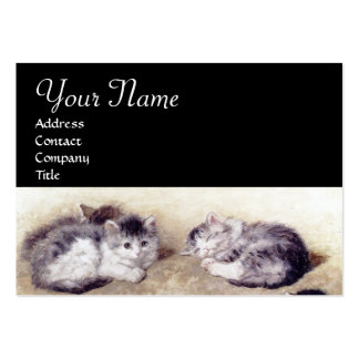 MOTHER CAT WITH KITTENS LARGE BUSINESS CARD