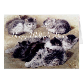 MOTHER CAT WITH KITTENS / Mother's Day Card