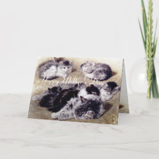 MOTHER CAT WITH KITTENS / Mother's Day Roses Card