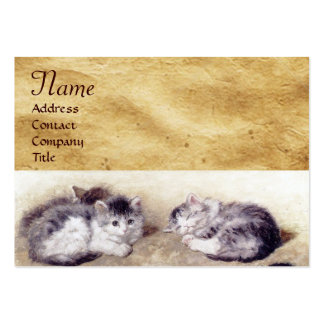 MOTHER CAT WITH KITTENS Parchment Monogram Large Business Card