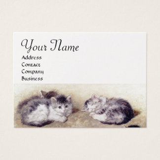 MOTHER CAT WITH KITTENS White Pearl paper Business Card