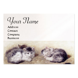 MOTHER CAT WITH KITTENS White Pearl paper Large Business Card