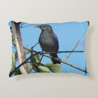Mother Catbird Gathers Berries to her Feed Babies Accent Pillow