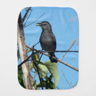 Mother Catbird Gathers Berries to her Feed Babies Baby Burp Cloth
