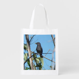Mother Catbird Gathers Berries to her Feed Babies Reusable Grocery Bag