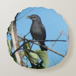 Mother Catbird Gathers Berries to her Feed Babies Round Pillow