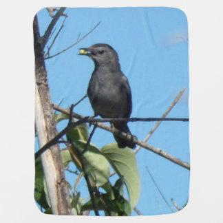 Mother Catbird Gathers Berries to her Feed Babies Swaddle Blanket