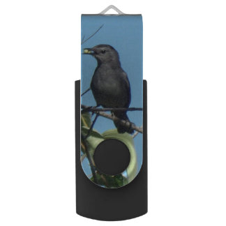 Mother Catbird Gathers Berries to her Feed Babies Swivel USB 2.0 Flash Drive