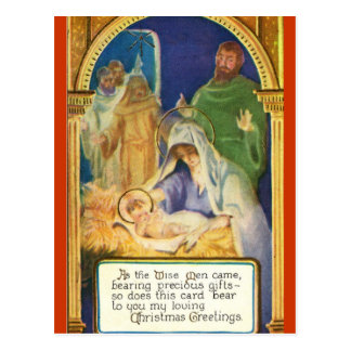Mother & Child In Manger Holiday Postcard