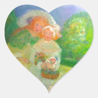 Mother & Child in the Park Designer Art Gift Heart Sticker