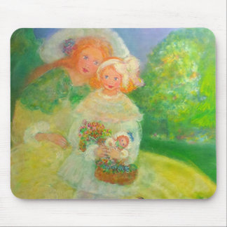 Mother & Child in the Park Designer Art Gift Mouse Pad