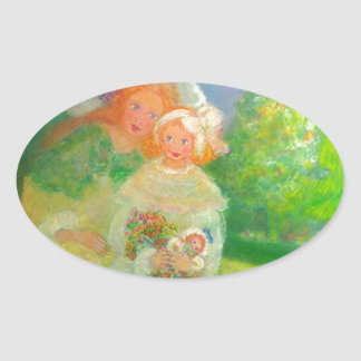 Mother & Child in the Park Designer Art Gift Oval Sticker