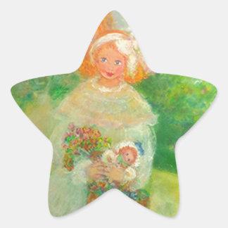 Mother & Child in the Park Designer Art Gift Star Sticker