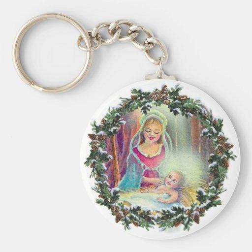MOTHER & CHILD in WREATH by SHARON SHARPE Basic Round Button Keychain