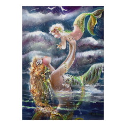 Mother & Child Mermaids Print