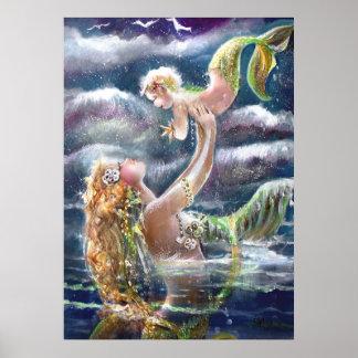 Mother & Child Mermaids Print