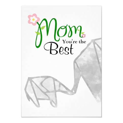 Mother & Child Origami Elephant with Text & Photo Card
