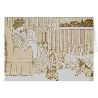Mother & Child Story Time in Sepia - Card