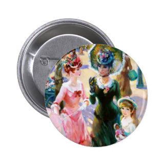 Mother & Child Street Scene Mother's Day Card Pinback Button