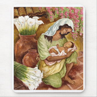 MOTHER & CHILD WITH CALA LILIES - MULTI MOUSE PAD