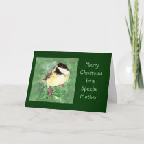 Mother  Christmas Chickadee Bird Holly Nature Art Holiday Card
