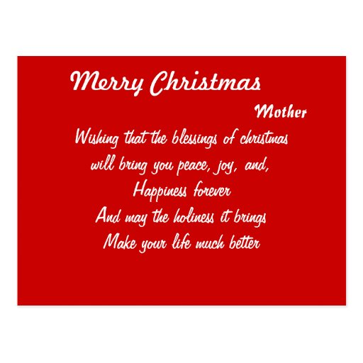 Mother christmas postcards-peace joy and happiness