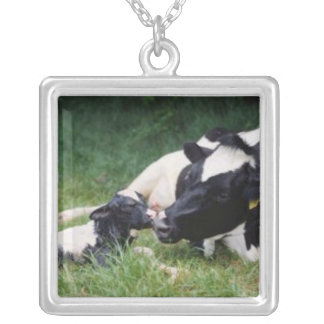 Mother cow and calf silver plated necklace
