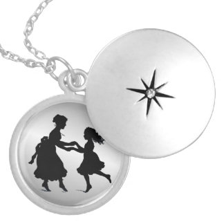 Mother & Daughter Holding Hands Dancing Locket Necklace