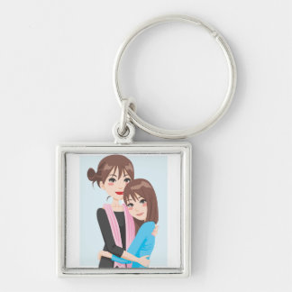 Mother Daughter Love Silver-Colored Square Keychain