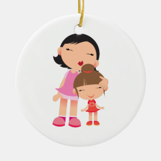 Mother & Daughter Double-Sided Ceramic Round Christmas Ornament