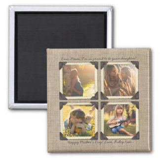 Mother Daughter Personalized Instagram Photo Grid Magnet