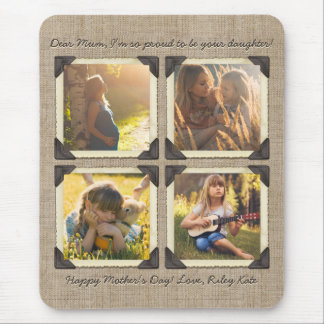 Mother Daughter Personalized Instagram Photo Grid Mouse Pad