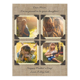 Mother Daughter Personalized Instagram Photo Grid Postcard