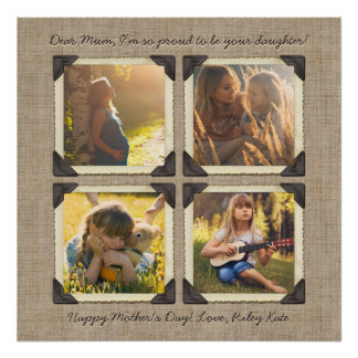 Mother Daughter Personalized Instagram Photo Grid Poster