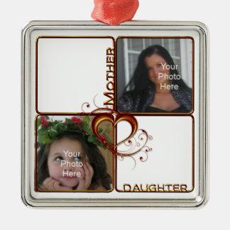 Mother Daughter Photo Premium Square Ornament