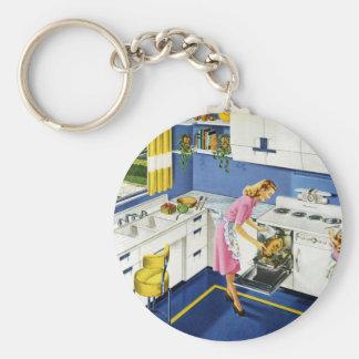 Mother/Daughter Retro Kitchen #2 Basic Round Button Keychain