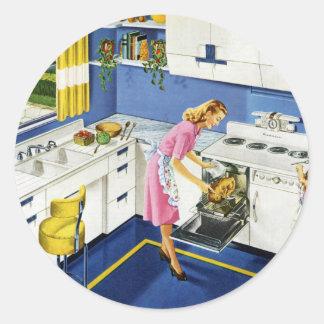 Mother/Daughter Retro Kitchen #2 Classic Round Sticker