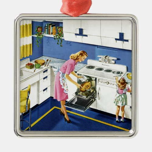 MotherDaughter Retro Kitchen 2 Metal Ornament