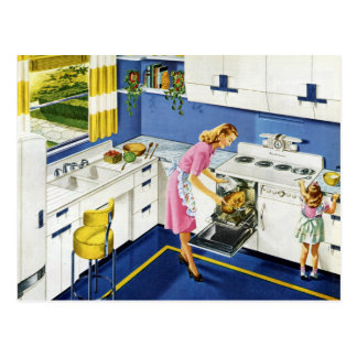 Mother/Daughter Retro Kitchen #2 Postcard