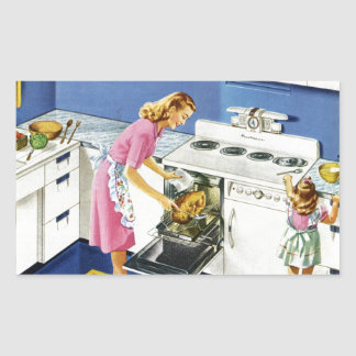 Mother/Daughter Retro Kitchen #2 Rectangular Sticker