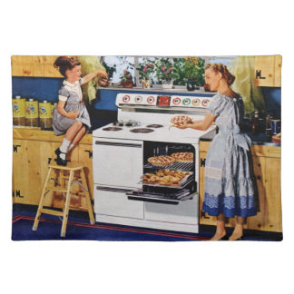 Mother/Daughter Retro Kitchen Placemat Cloth Placemat