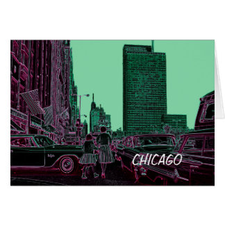 Mother Daughter Shopping Michigan Ave Chicago 1961 Card