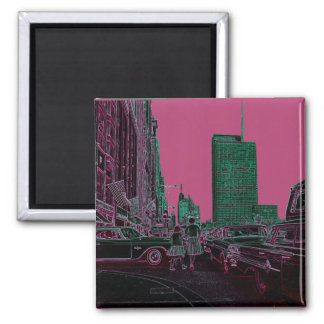 Mother Daughter Shopping Michigan Ave Chicago 1961 Magnet